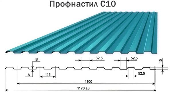 Размеры и вес листа профнастила марки С10
