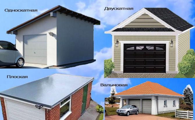 Виды крыш для гаража из профнастила