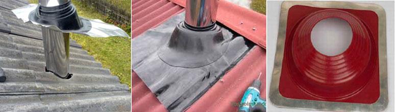 Проходка для герметизации круглой трубы для шиферной крыши
