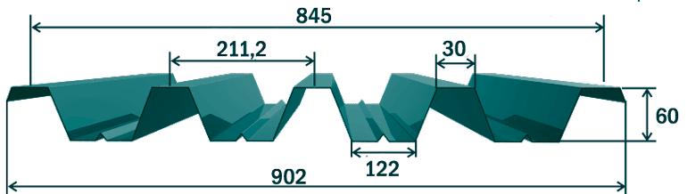 Размеры, рабочая ширина, толщина и вес листа профнастила Н60